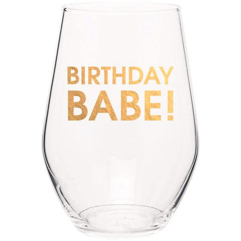 BIRTHDAY BABE - GOLD FOIL STEMLESS WINE GLASS - sanitystyle