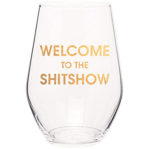 WELCOME TO THE SHITSHOW - GOLD FOIL STEMLESS WINE GLASS - sanitystyle