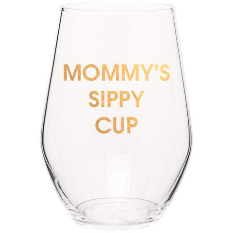 MOMMY'S SIPPY CUP - GOLD FOIL STEMLESS WINE GLASS - sanitystyle