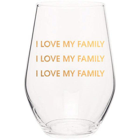 I LOVE MY FAMILY I LOVE MY FAMILY - GOLD FOIL STEMLESS WINE GLASS - sanitystyle