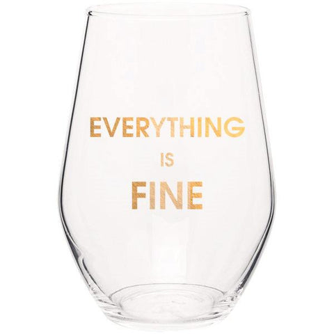 EVERYTHING IS FINE - GOLD FOIL STEMLESS WINE GLASS - sanitystyle