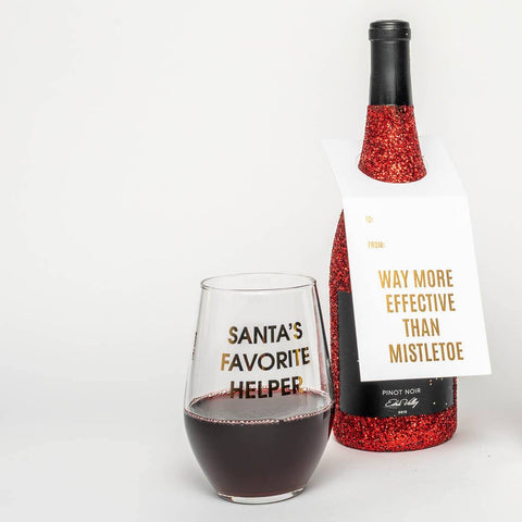 SANTA'S FAVORITE HELPER- GOLD FOIL STEMLESS WINE GLASS