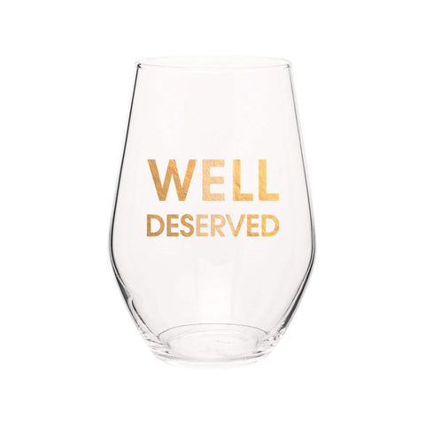 WELL DESERVED- GOLD FOIL STEMLESS WINE GLASS - sanitystyle