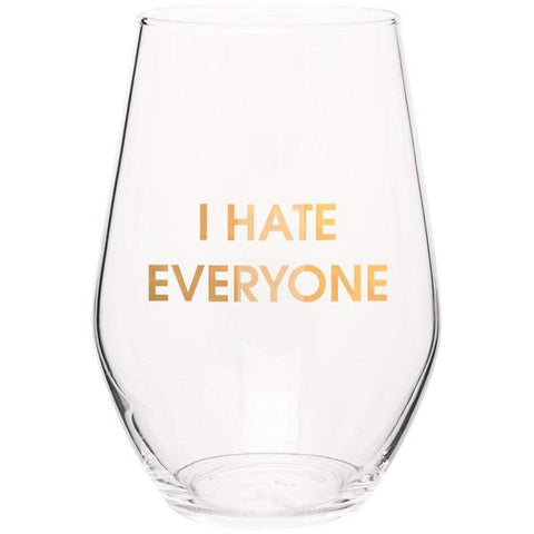 I HATE EVERYONE GOLD FOIL STEMLESS WINE GLASS