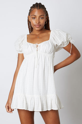 Dana Puff Sleeve Dress in White PREORDER