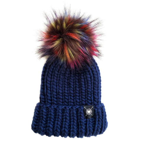 Merino Folded Brim Faux Fur Beanie in Kaleidoscope
