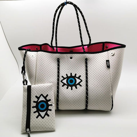 Evil Eye Neoprene Bag in White PREORDER
