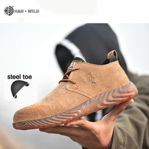 Men's Breathable Cow Suede Leather Steel Toe Work Boots Shoes Men Anti-slip Puncture Proof Safety Shoes