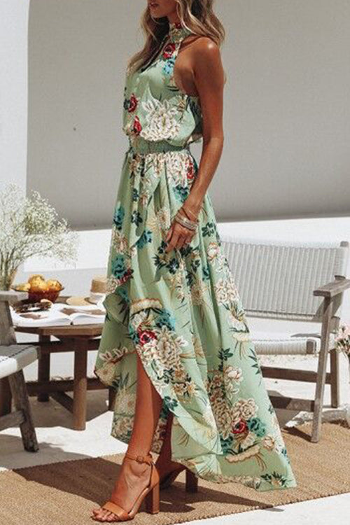 Seastylish Boho Floral Printed Beach Backless Sundress