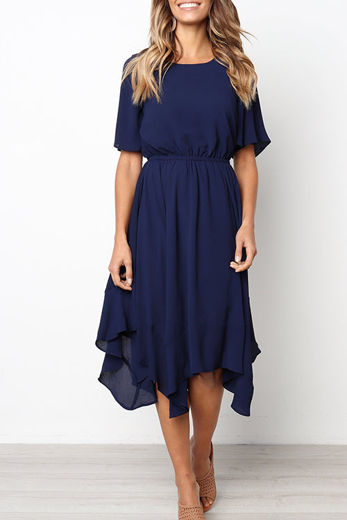Seastylish Irregular Hem Round Neck Swing Pleated Dress