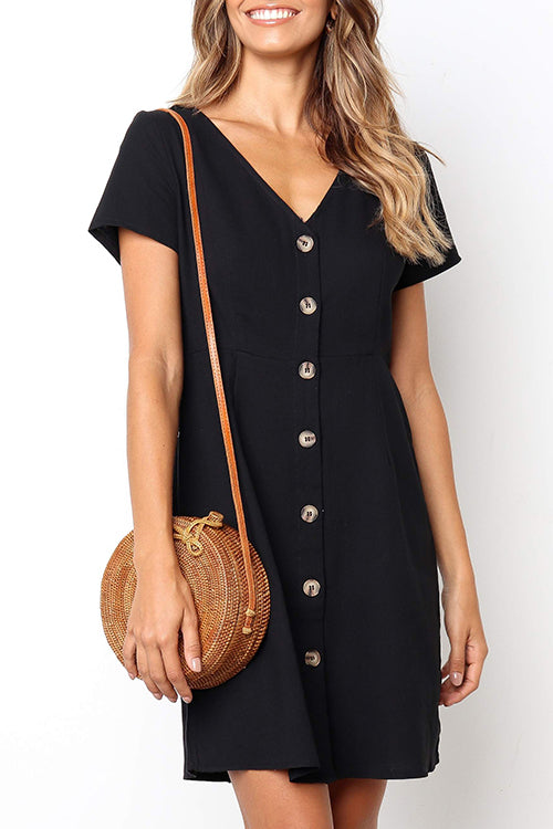 Seastylish Casual Buttons Decorative Black Mini Dress