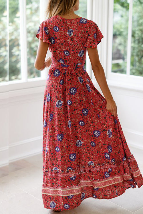 Seastylish High Waist Bohemia Print National Style Midi Dress
