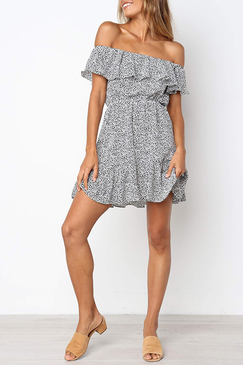 Seastylish Off The Shoulder Dot Printed Mini Dress