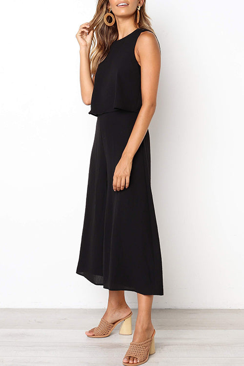 Seastylish Solid Loose Wide Leg Jumpsuit