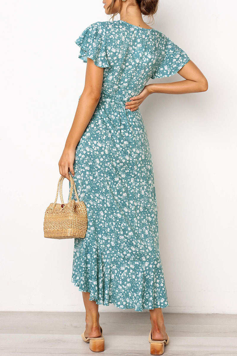 Seastylish Floral Printed Blue Midi Dress