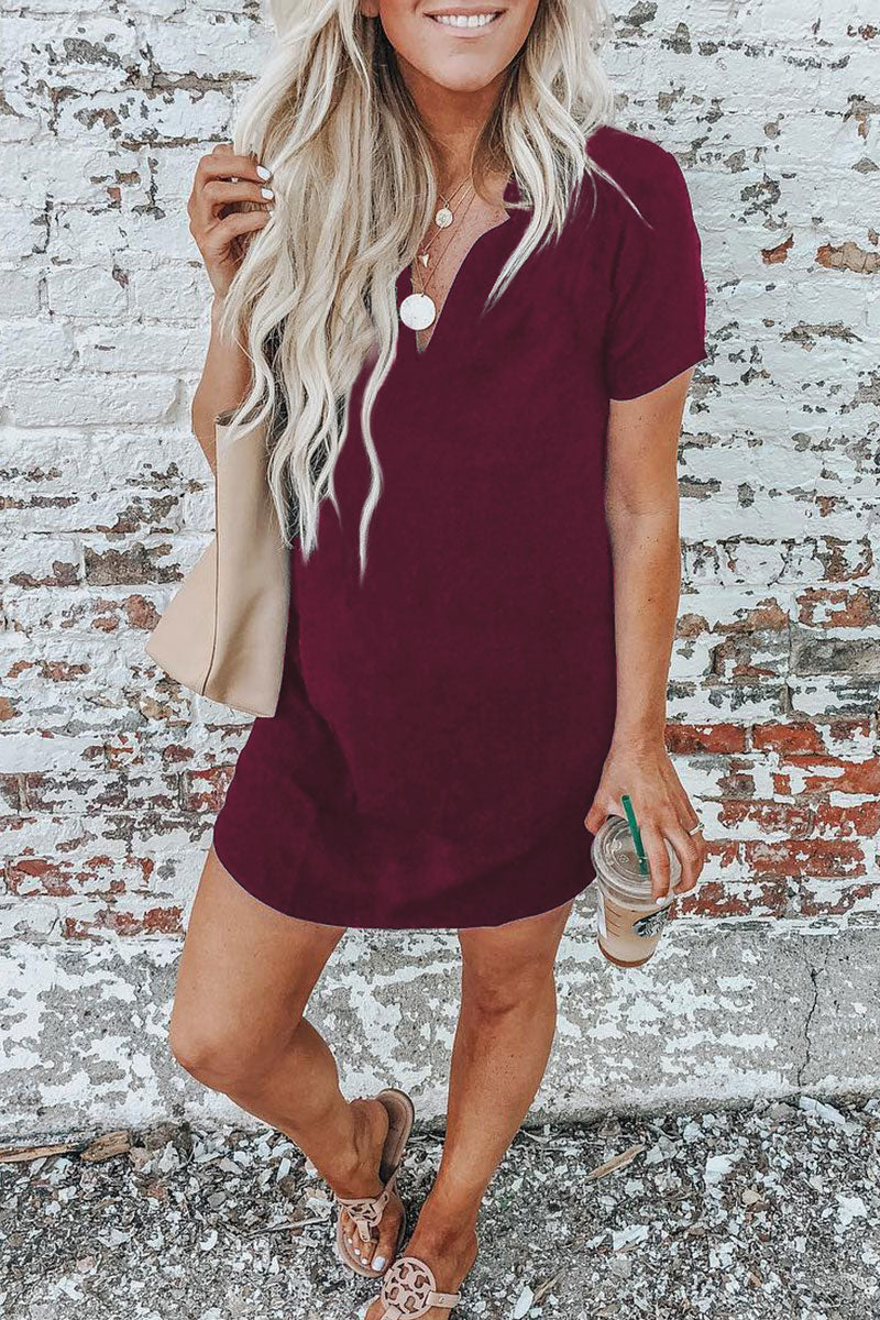 Seastylish Casual V Neck Cotton Mini Dress(2 Colors)