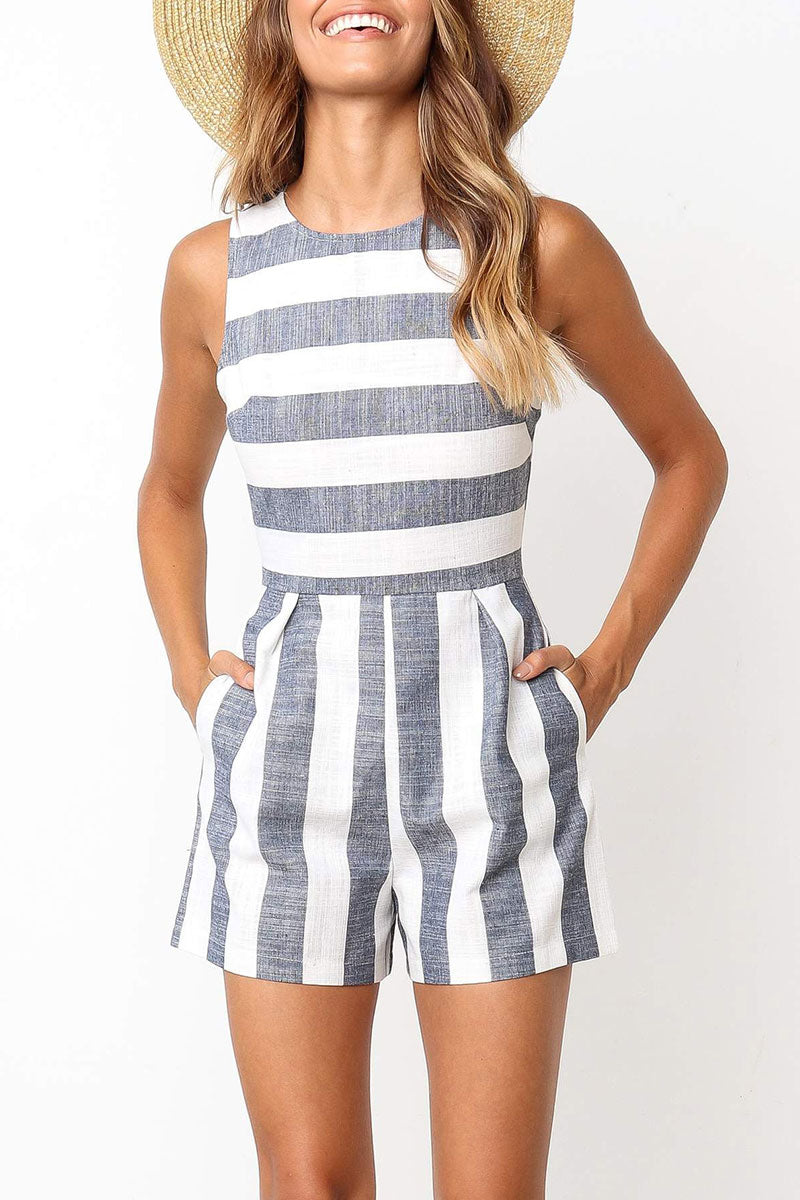 Seastylish Casual Striped Blue Rompers