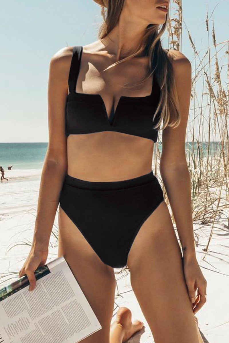 Seastylish High-Waisted Black Sexy Bikini Set