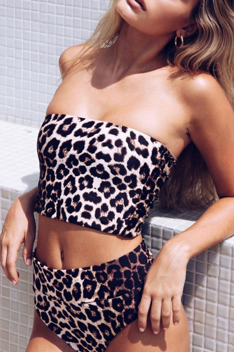 Seastylish Strapless Leopard Printed Two-piece Swimsuit