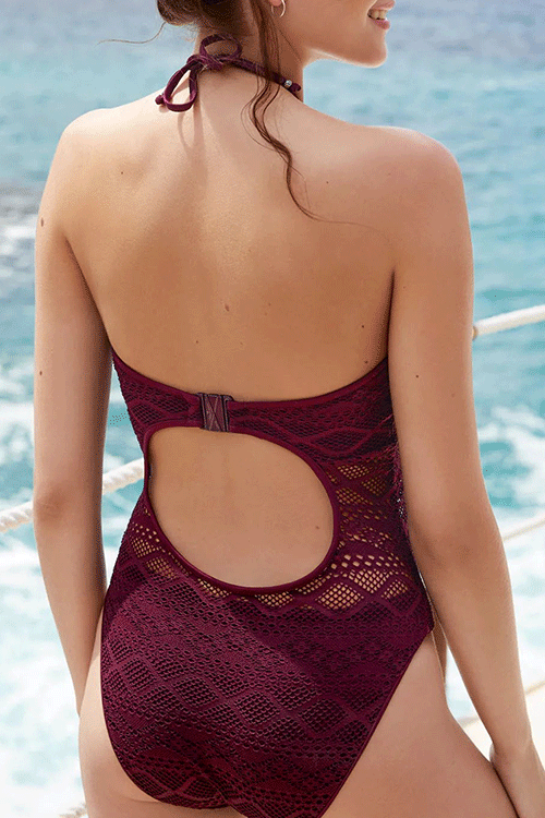 Seastylish Hollowed-out Halter One-piece Swimsuit