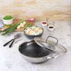 Stanton Stainless Steel Nonstick Kadhai with Lid- 24cm, 2L, 2.5mm, Silver