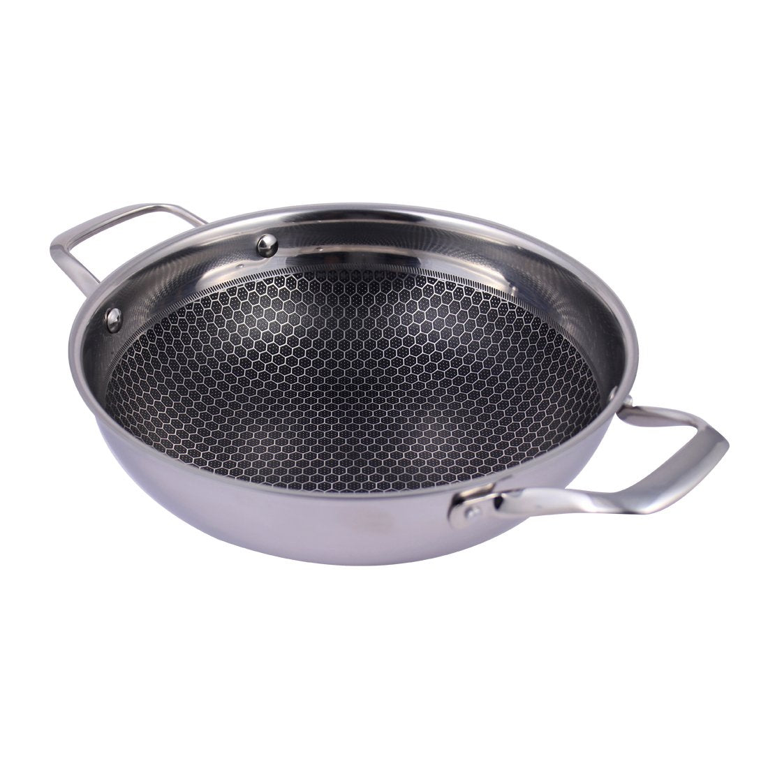 Stanton Stainless Steel Nonstick Kadhai with Lid 24cm, 2L, Silver