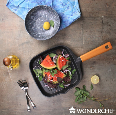 Wonderchef Caesar Grill Pan With Wooden Handle 24cm