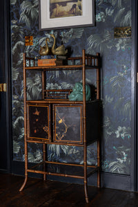 Antique Victorian Bamboo cabinet with golden birds