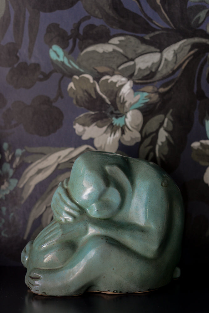 Vintage green monkey and baby sculpture