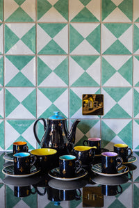 Black and jewel colours vintage tea set