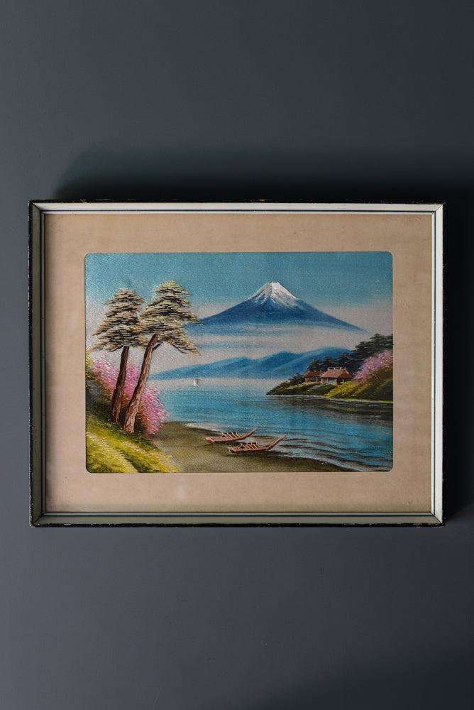 Embroidered Japanese picture in jewel tones