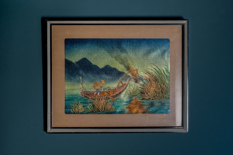 Embroidered Japanese picture of man in boat