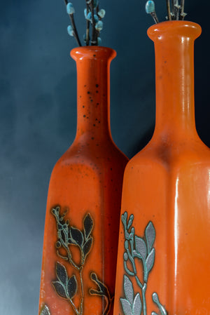 Orange East German style vases