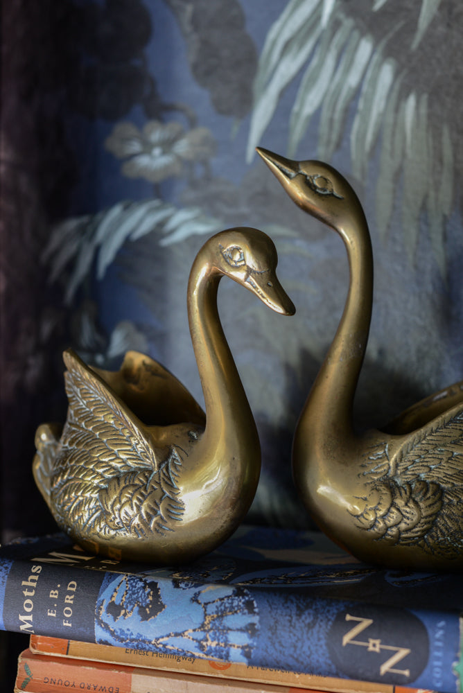 Pair of vintage Brass Swans