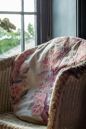 Pair of embroidered linen cushions