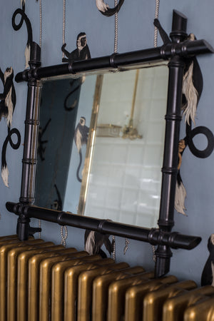 Vintage Black faux-bamboo mirror