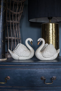 Pair of decorative vintage ceramic white swans