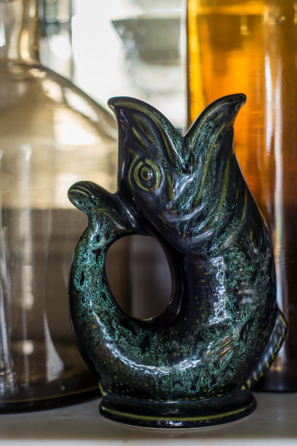 Vintage ceramic Fish Gluggle Jug in Deep Green