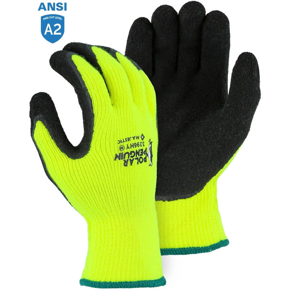 Majestic 3396HY Hi-Vis Polar Penguin Winter Gloves with Latex Palm Coating