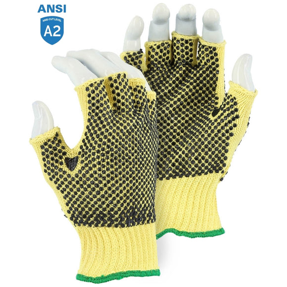 Majestic 3110F Cut-Less With Kevlar Fingerless Cut Resistant Knit Glove with PVC Dots