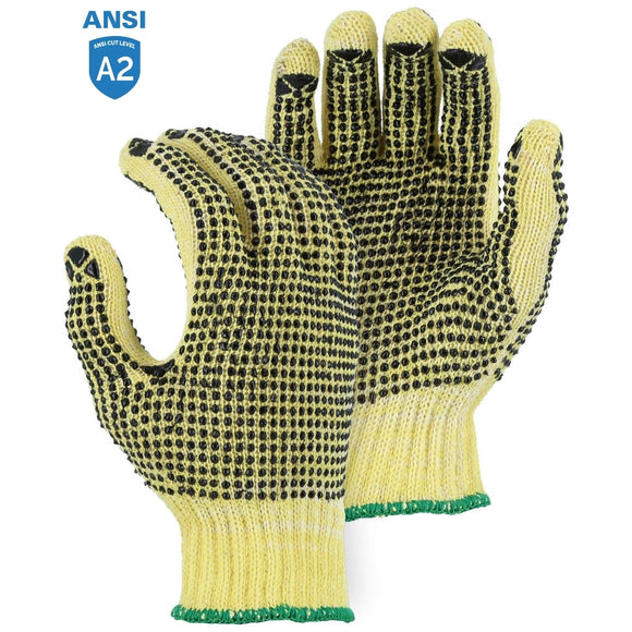 Majestic 3110P Cut-Less With Kevlar Cotton Plated Cut Resistant Knit Glove with PVC Dots