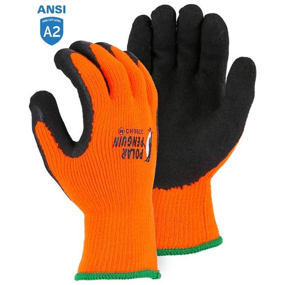 Majestic 3396HO Hi-Vis Polar Penguin Winter Gloves with Latex Palm Coating