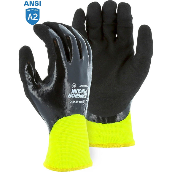 Majestic 3398DNY Emperor Penguin Hi-vis Winter Lined Nylon Gloves with Nitrile Dip Palm Coating
