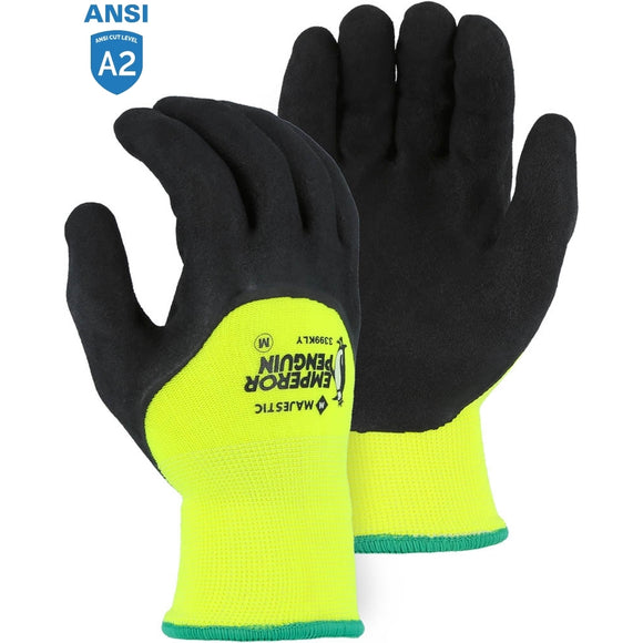 Majestic 3399KLY Hi-Vis Emperor Penguin Winter Gloves with Latex Palm Coating