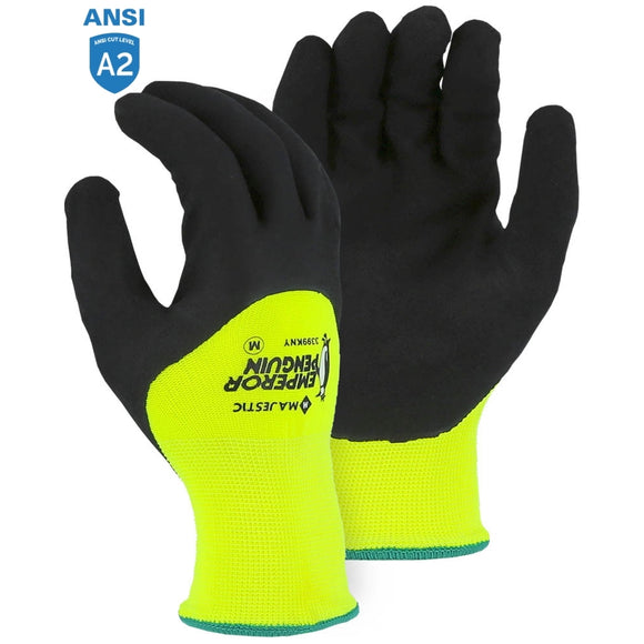 Majestic 3399KNY Hi-Vis Emperor Penguin Winter Gloves with Nitrile Palm Coating
