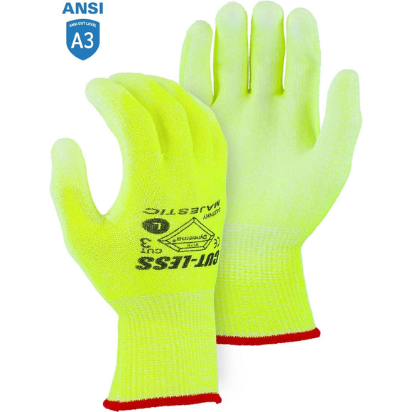Majestic 3435NHY High Visibility Yellow Dyneema Cut-Less Cut-resistant Glove with Polyurethane Palm Coating