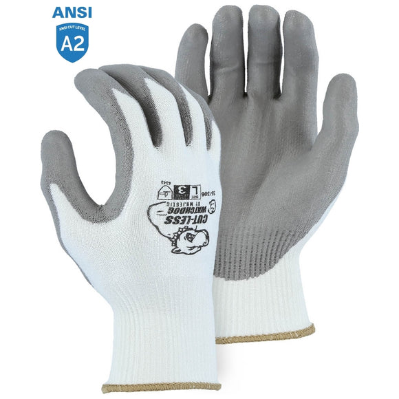 Majestic 35-1306 Cut-less Watchdog Cut Resistant Gloves with Polyurethane Palm Coating