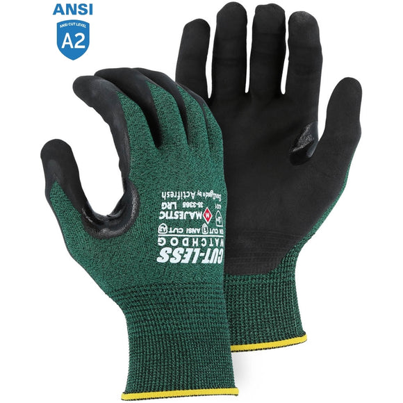 Majestic 35-3365 Cut-less Watchdog Cut Resistant Gloves with Foam Nitrile Palm Coating