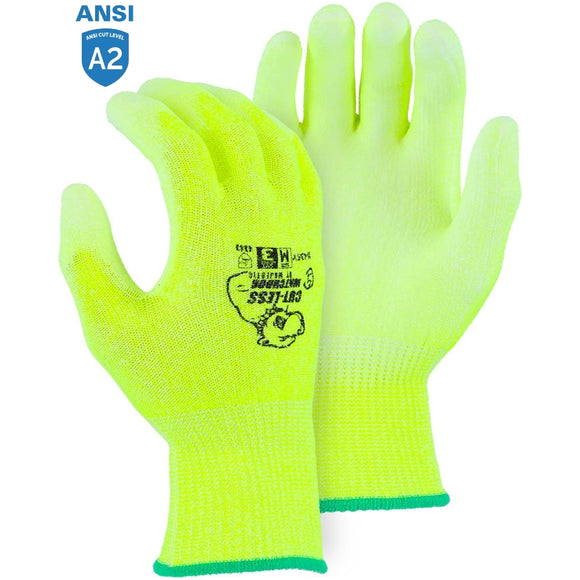 Majestic 35-435Y High Visibility Cut-less Watchdog Cut Resistant Gloves with Polyurethane Palm Coating