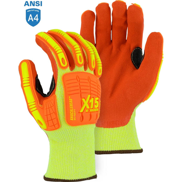 Majestic 35-557Y X15 High Visibility Cut & Impact Resistant Glove with Sandy Nitrile Coating